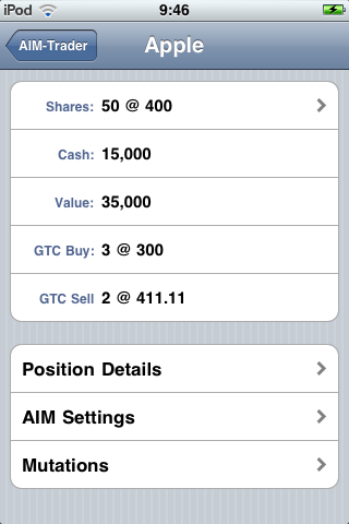 Screenshot of the position screen of AIM-Trader